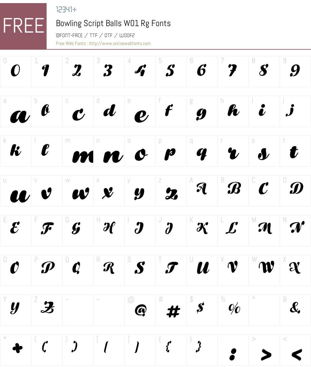 BowlingScriptBallsW01-Rg Font Screenshots