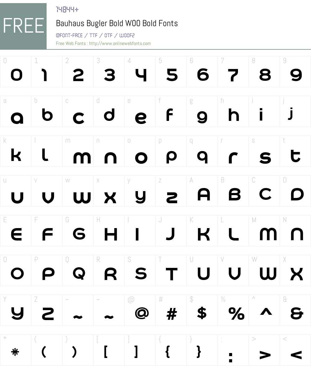 BauhausBuglerBoldW00-Bold Font Screenshots