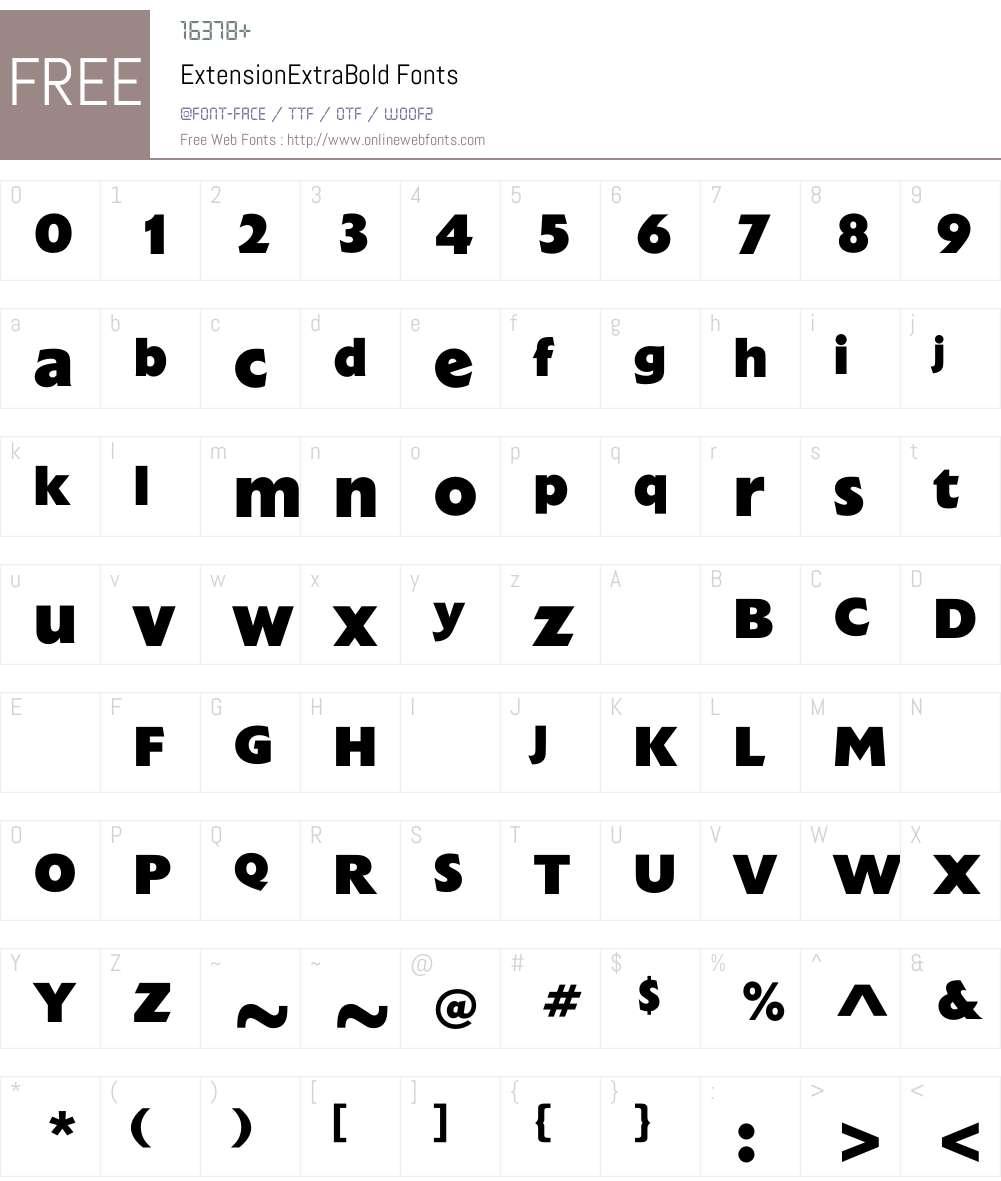 ExtensionExtraBold Font Screenshots