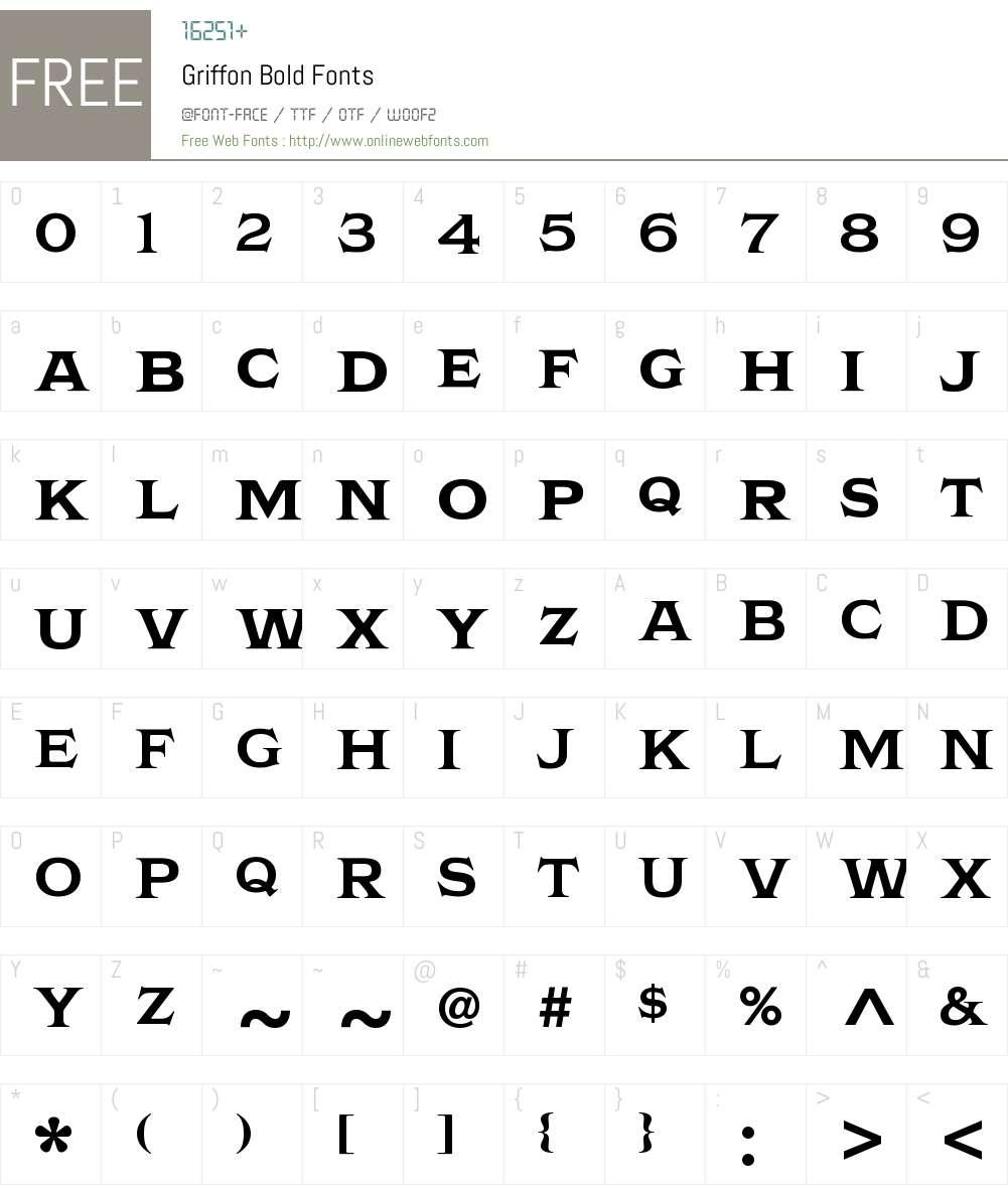 Griffon Bold Font Screenshots