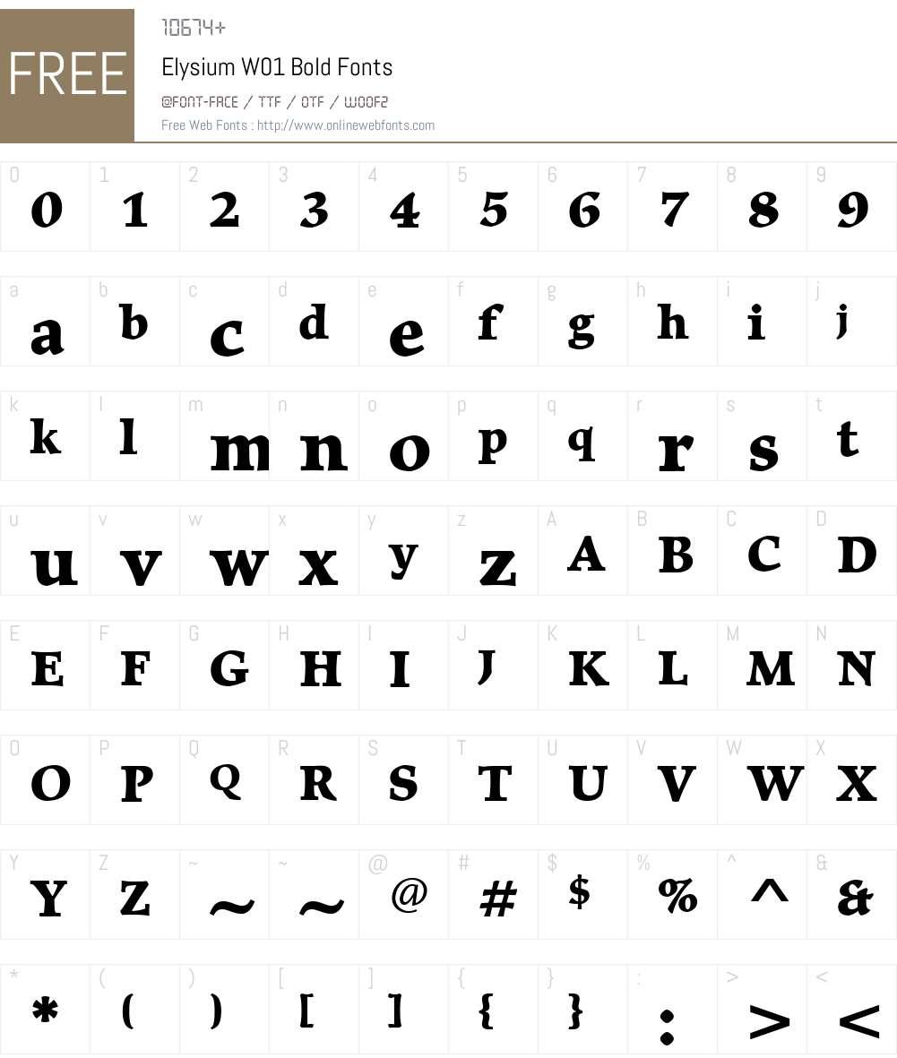 ElysiumW01-Bold Font Screenshots