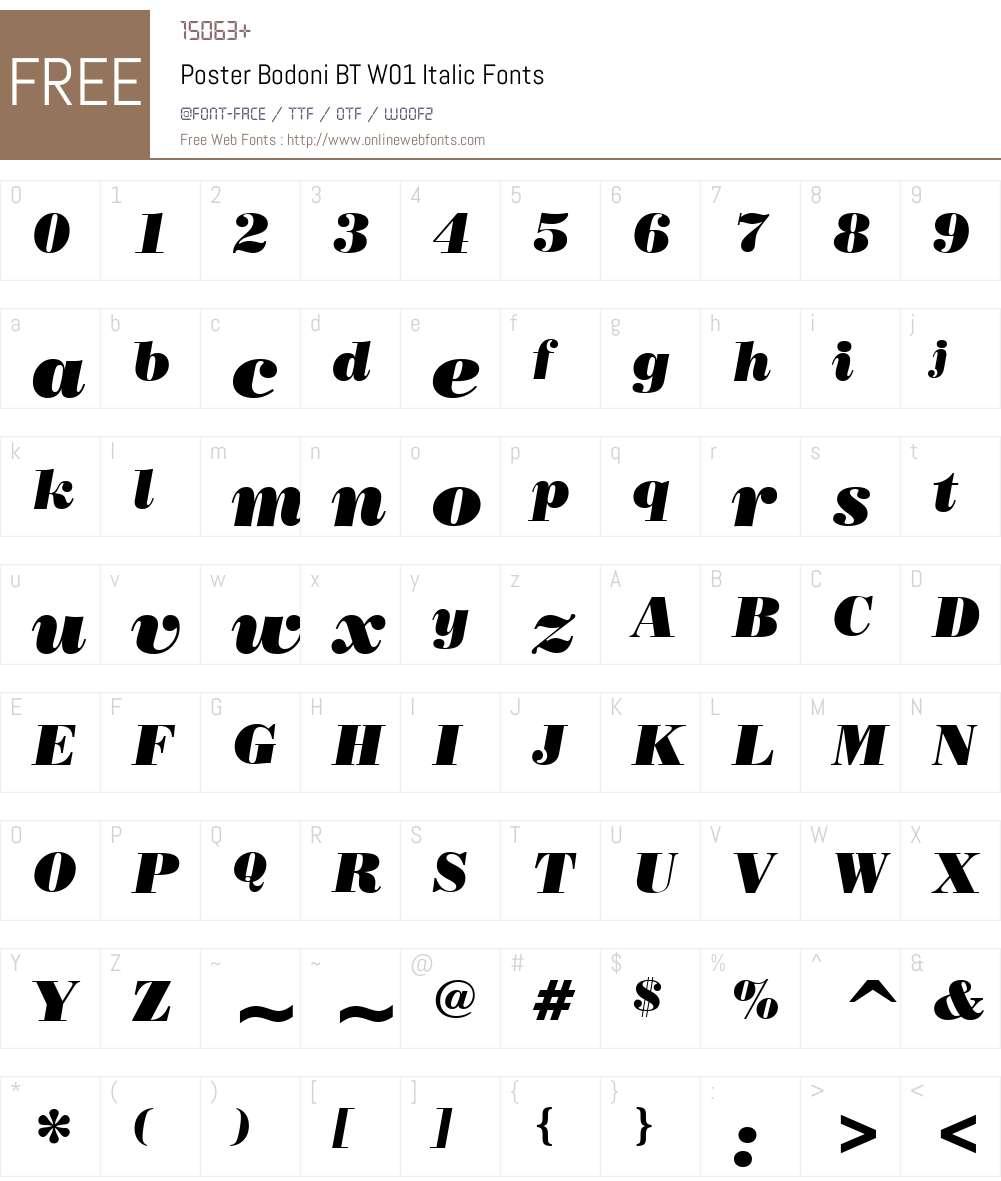 PosterBodoniBTW01-Italic Font Screenshots
