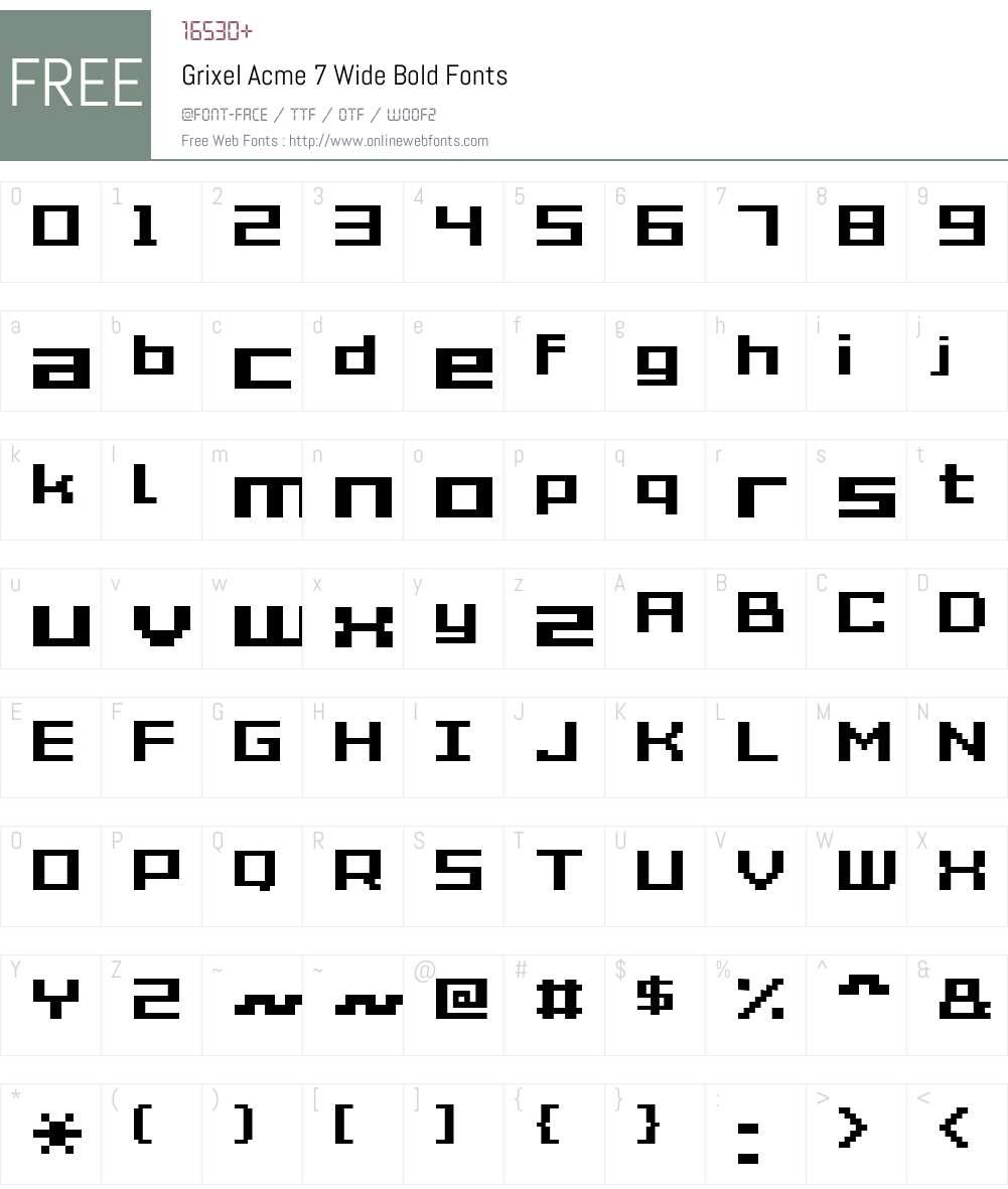 Grixel Acme 7 Wide Bold Font Screenshots