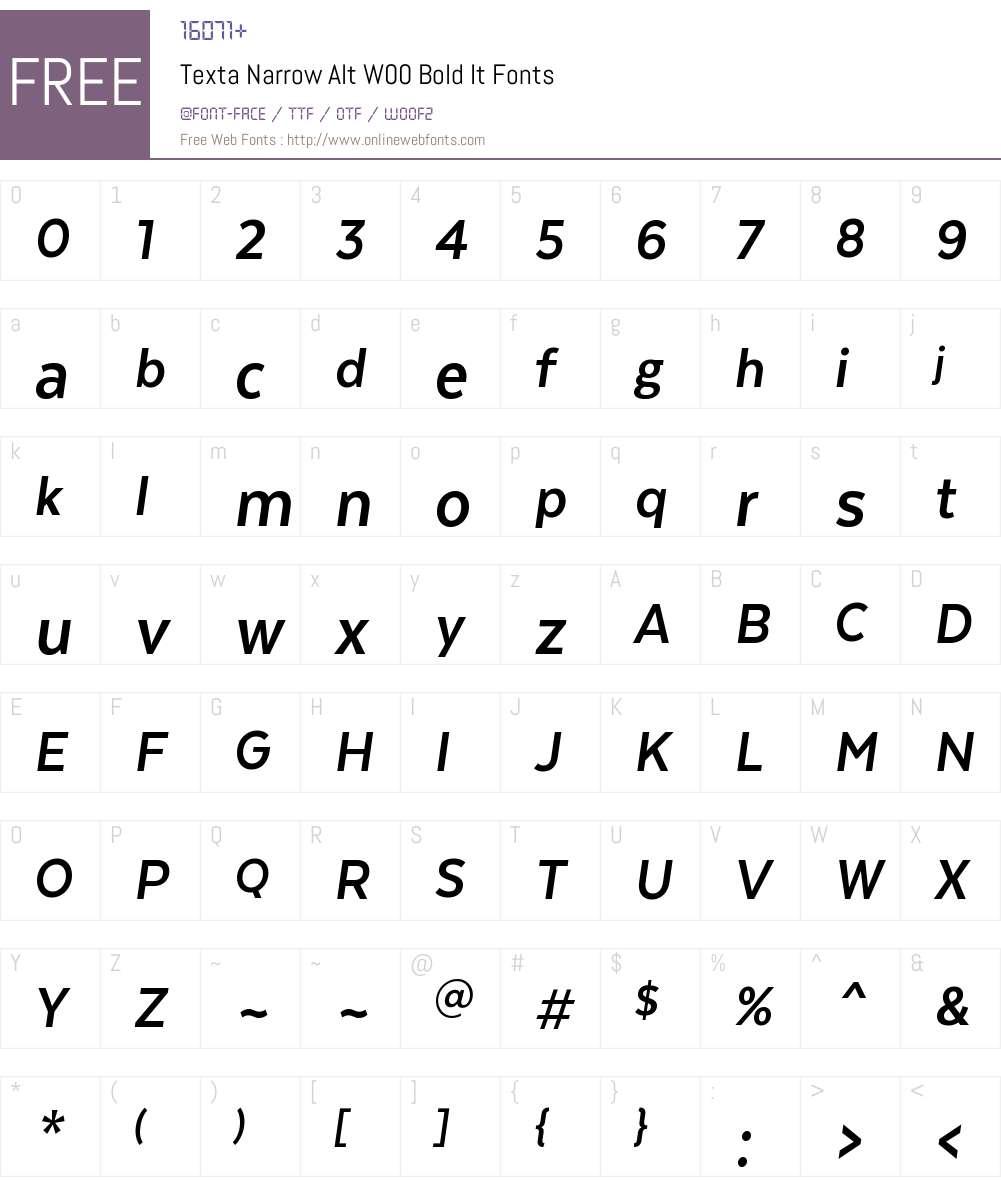 TextaNarrowAltW00-BoldIt Font Screenshots