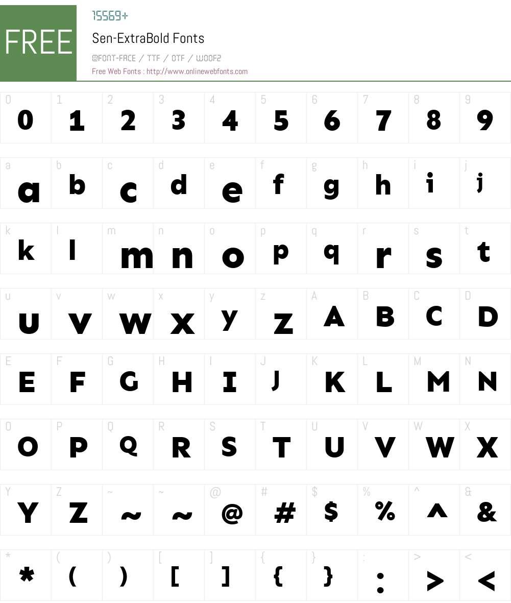 Sen-ExtraBold Font Screenshots