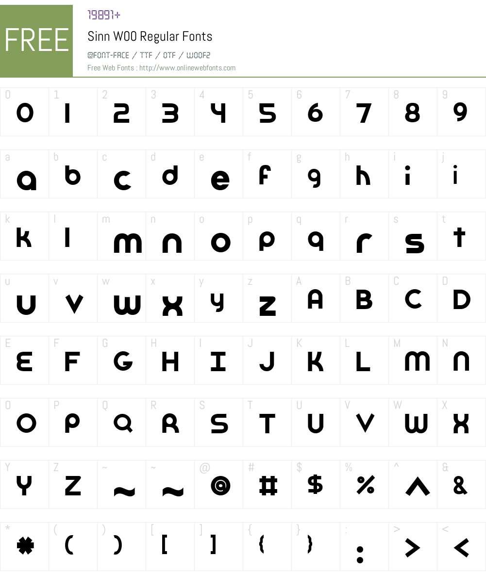 SinnW00-Regular Font Screenshots