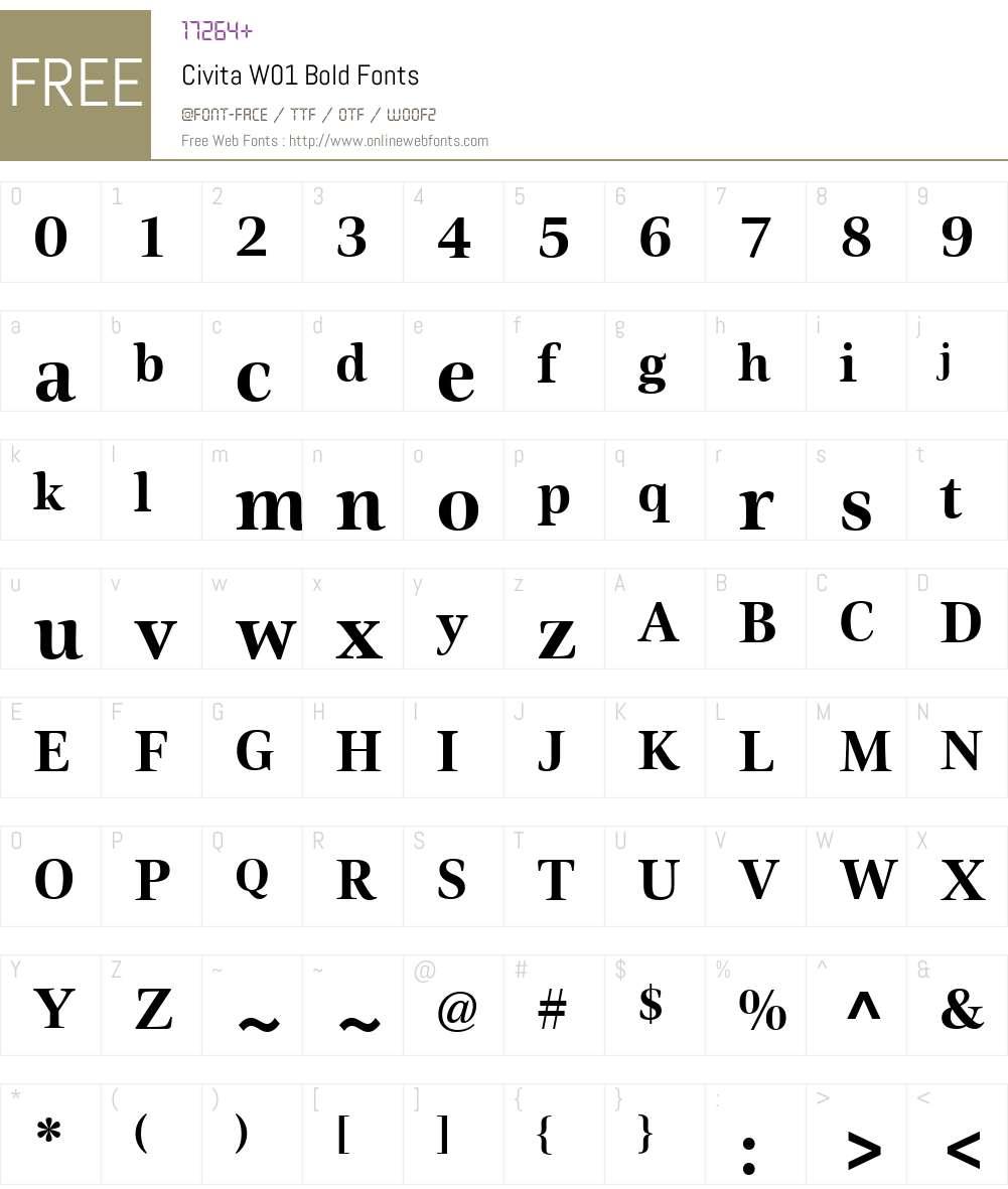 CivitaW01-Bold Font Screenshots