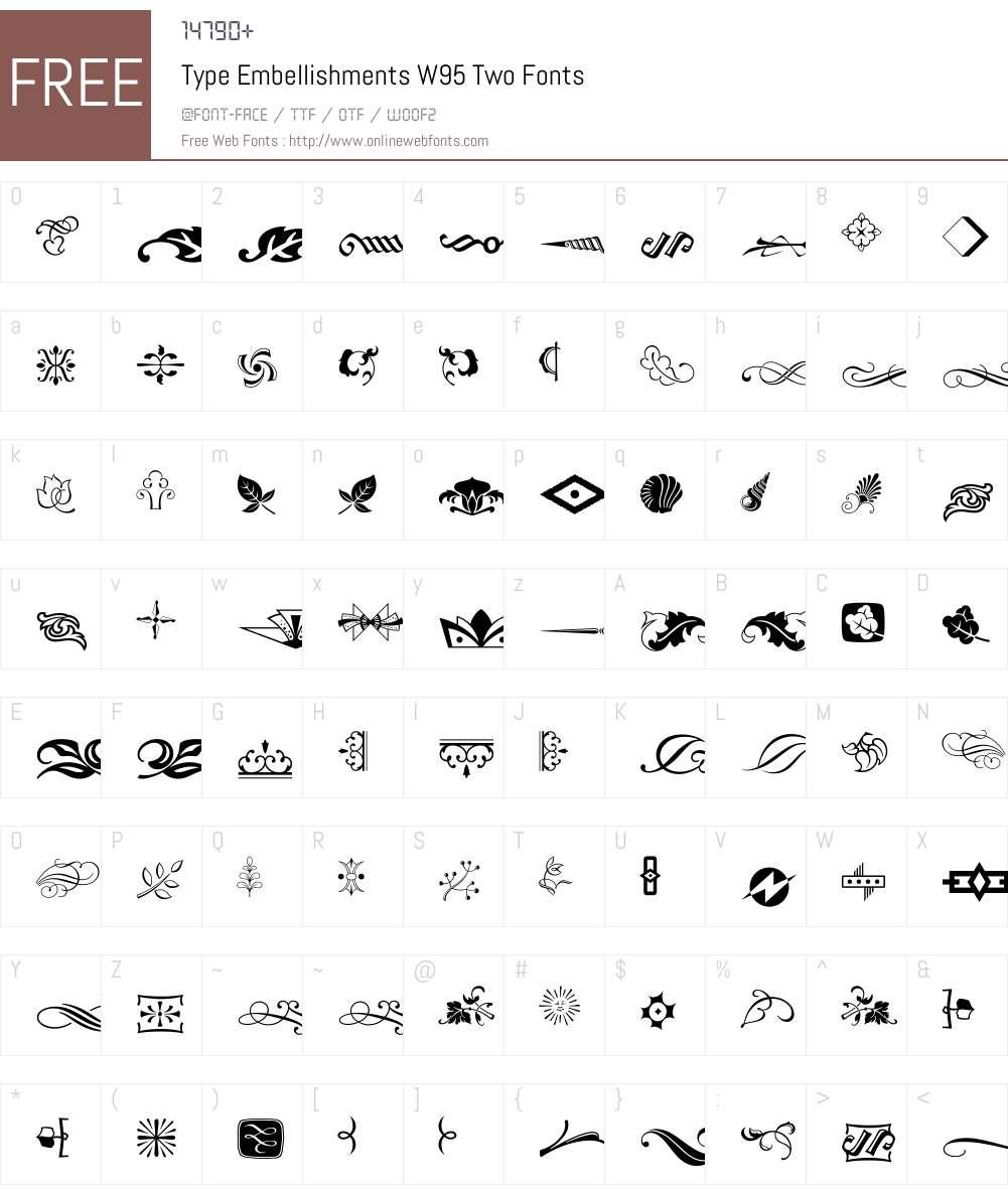 TypeEmbellishmentsW95-Two Font Screenshots