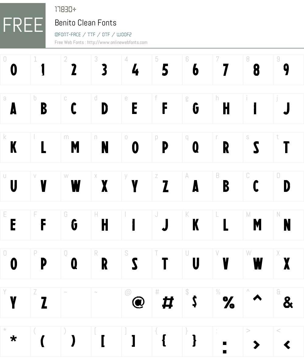 Benito Clean Font Screenshots