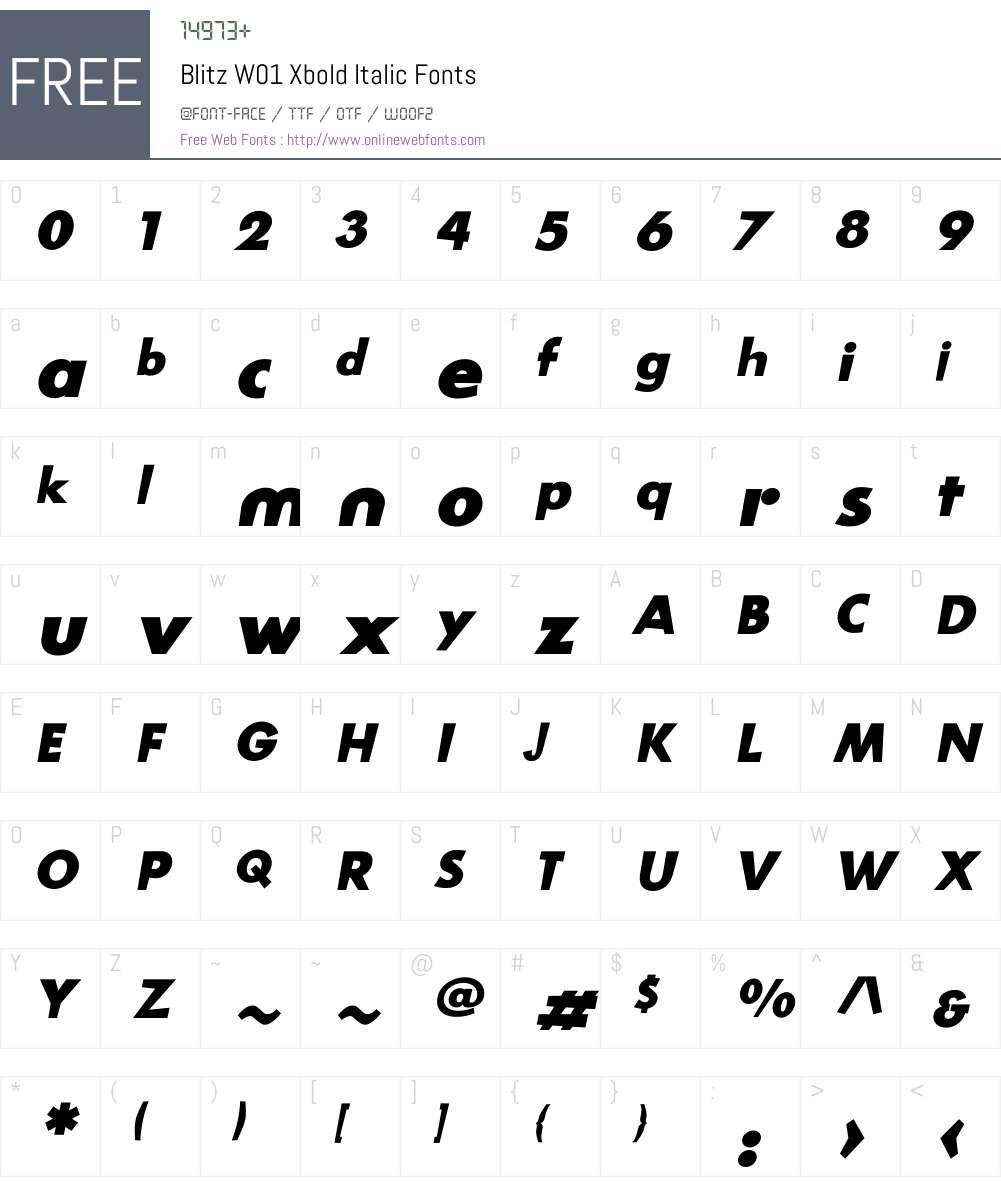 BlitzW01-XboldItalic Font Screenshots