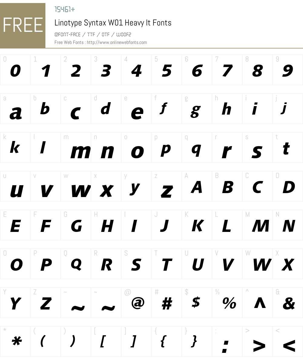 LinotypeSyntaxW01-HeavyIt Font Screenshots