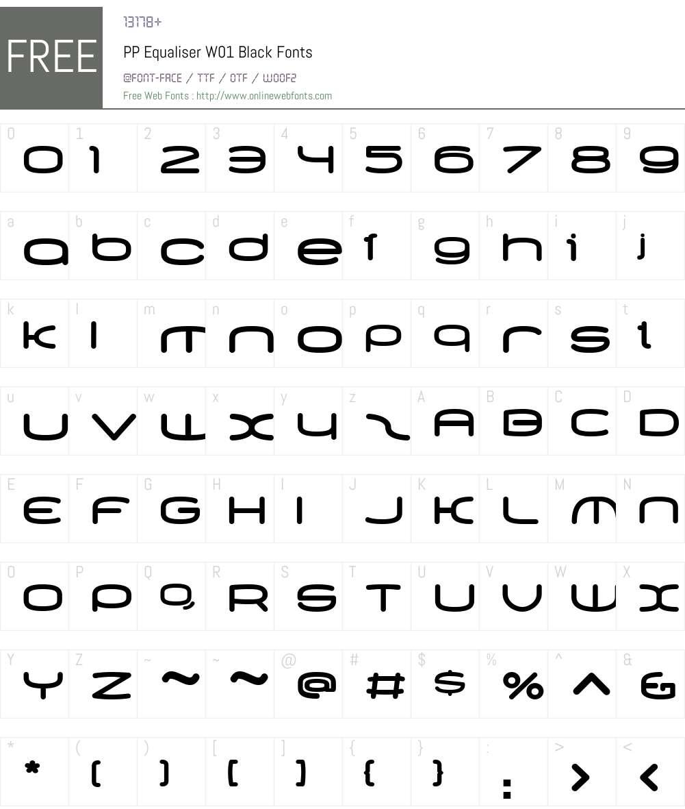 PPEqualiserW01-Black Font Screenshots