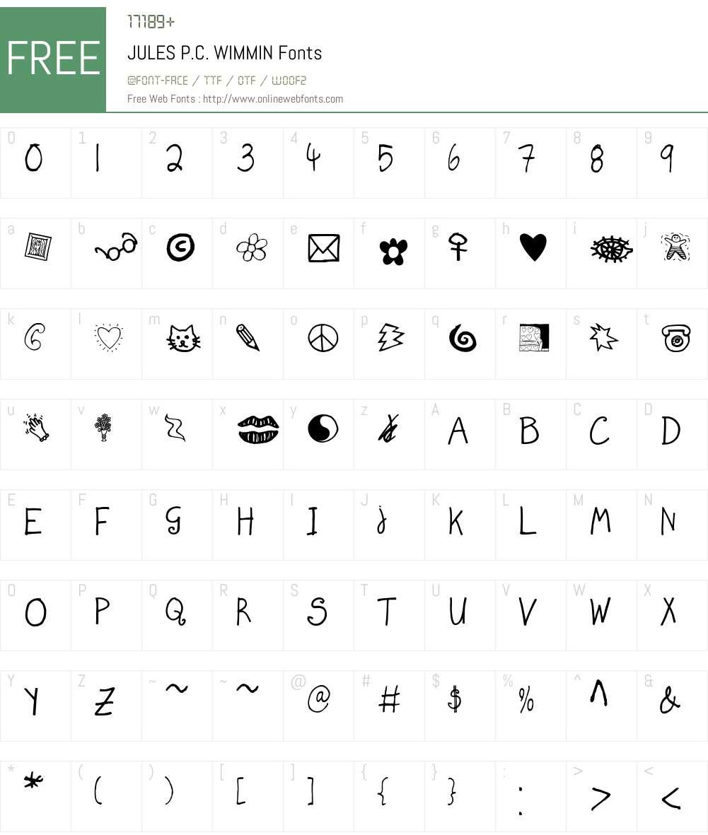 JULES P.C. WIMMIN Font Screenshots