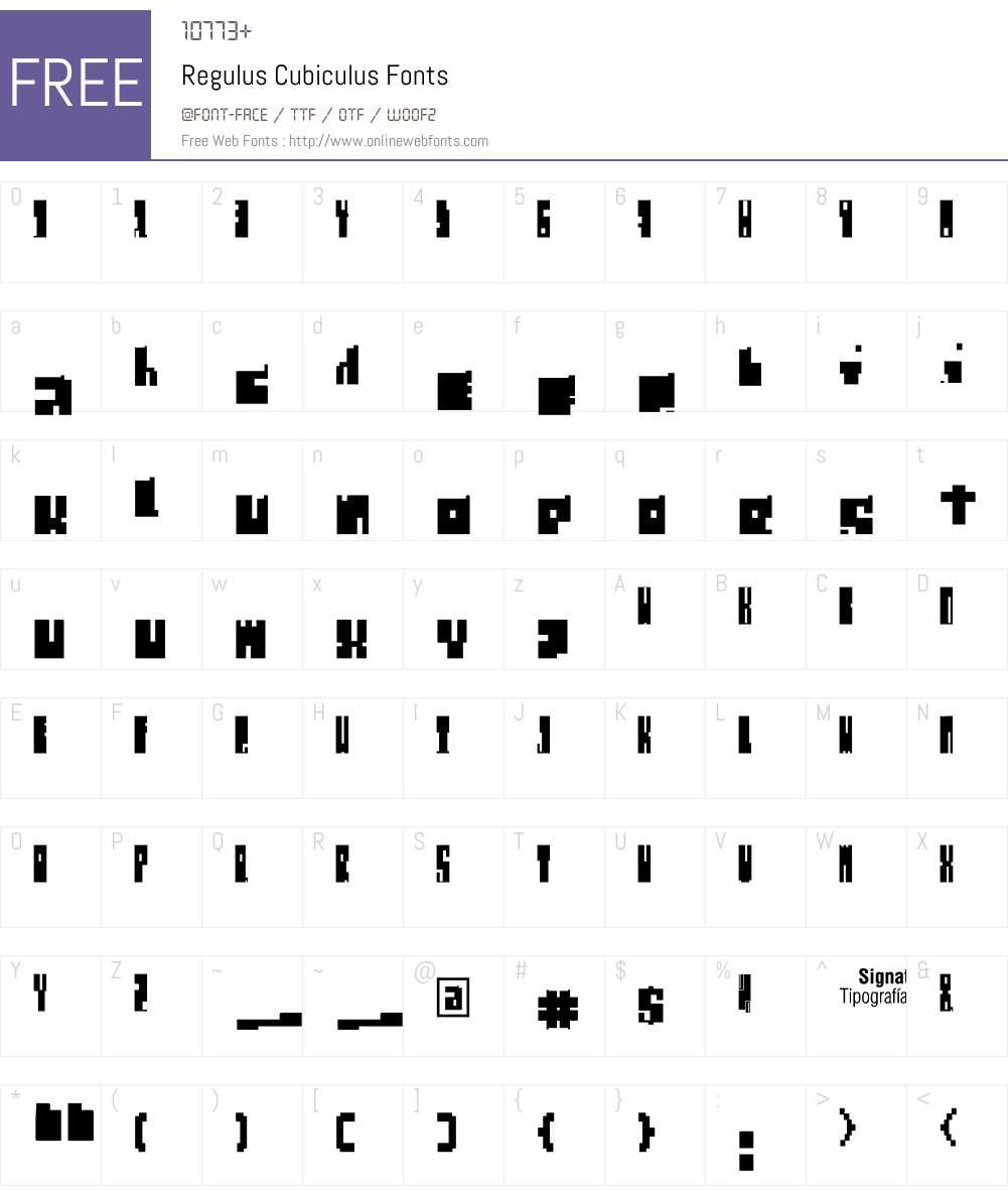 Regulus Cubiculus Font Screenshots