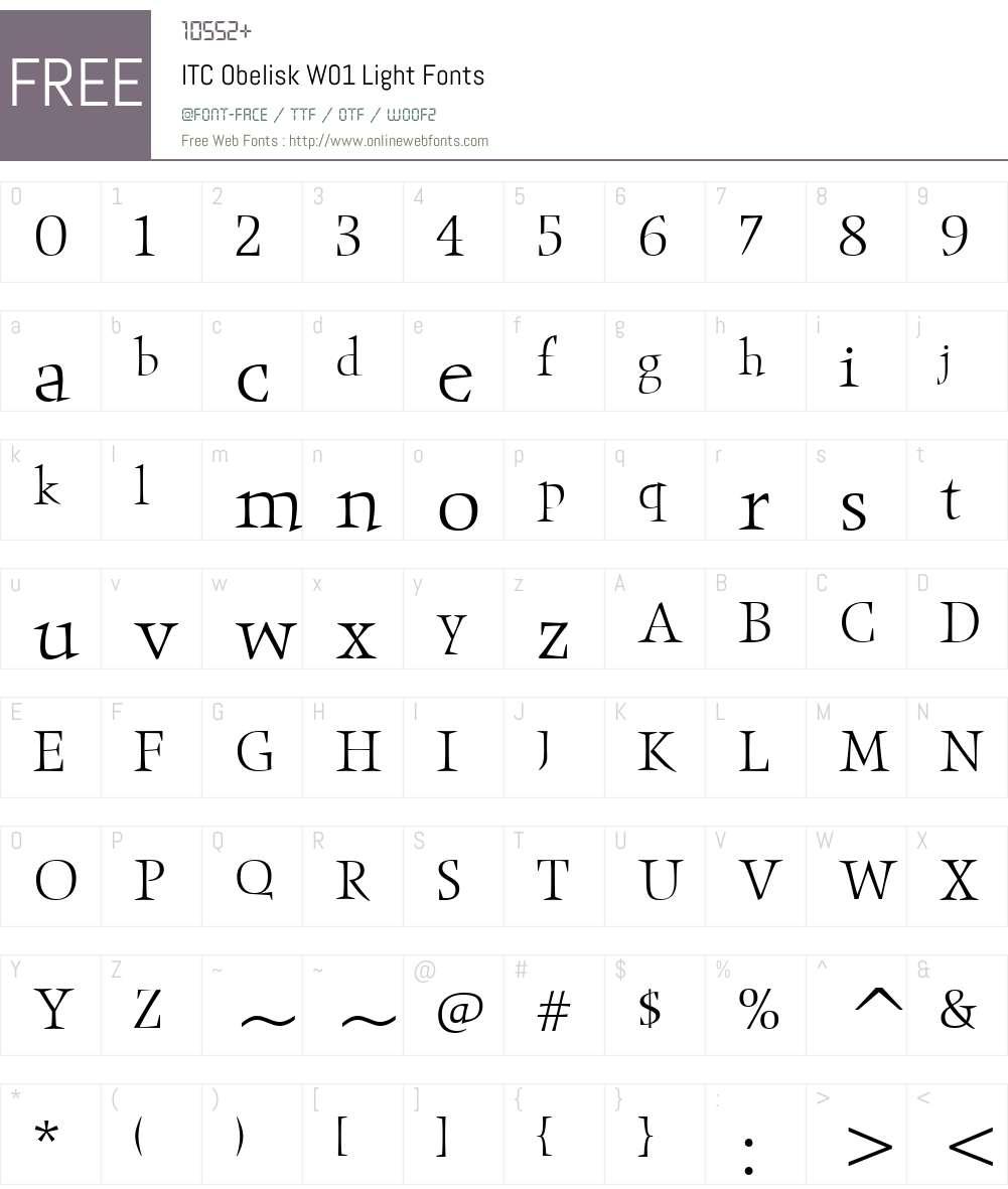 ITCObeliskW01-Light Font Screenshots