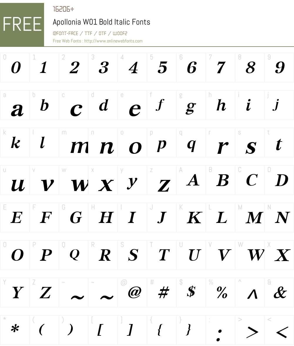 ApolloniaW01-BoldItalic Font Screenshots