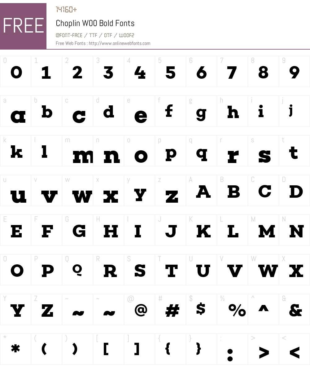ChoplinW00-Bold Font Screenshots