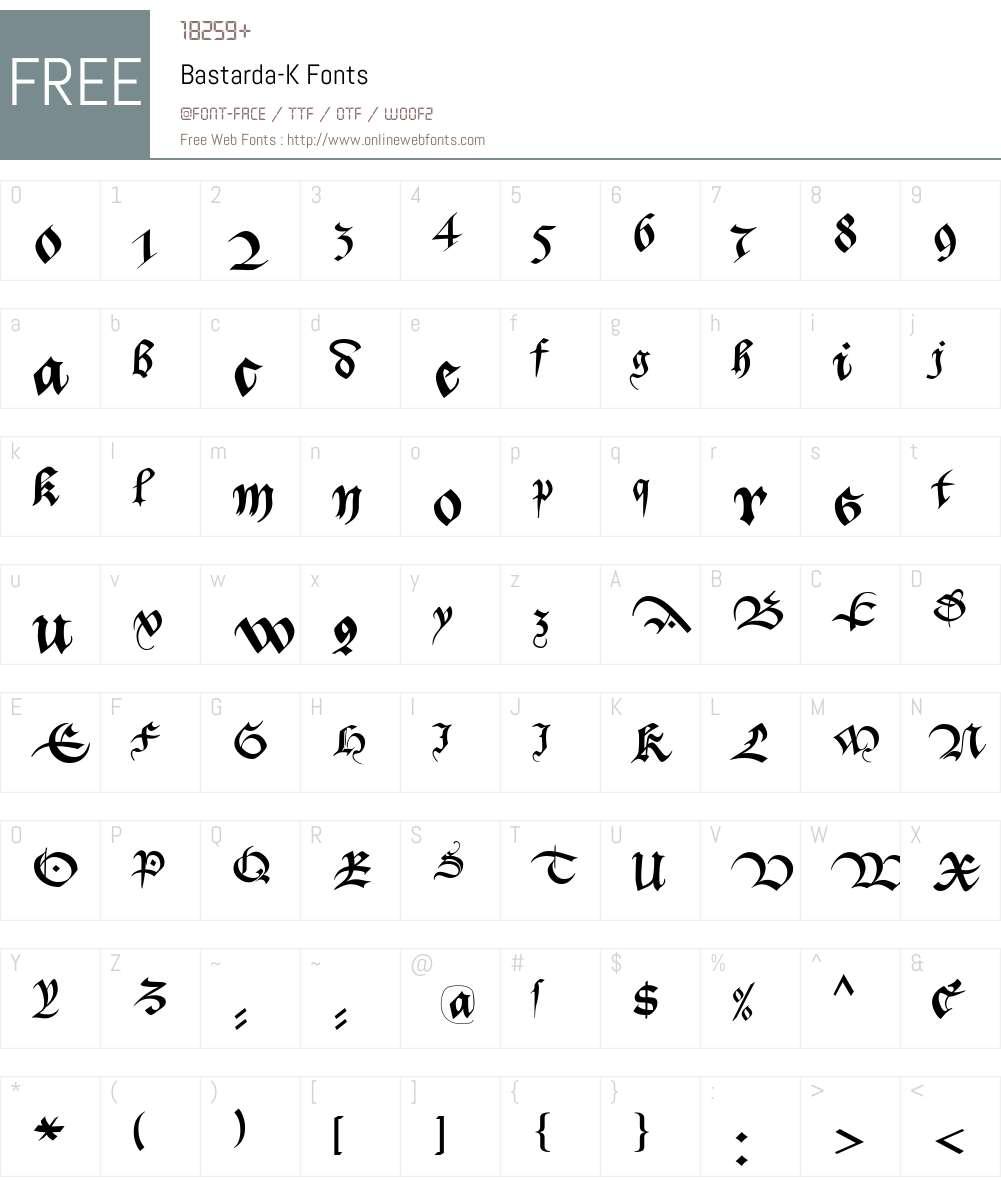 Bastarda-K Font Screenshots