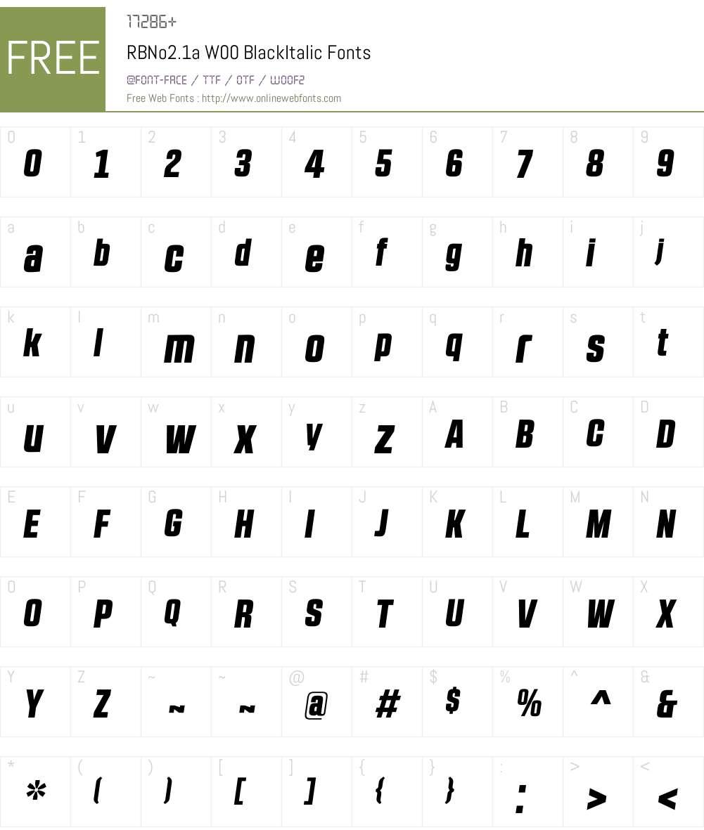 RBNo2.1aW00-BlackItalic Font Screenshots