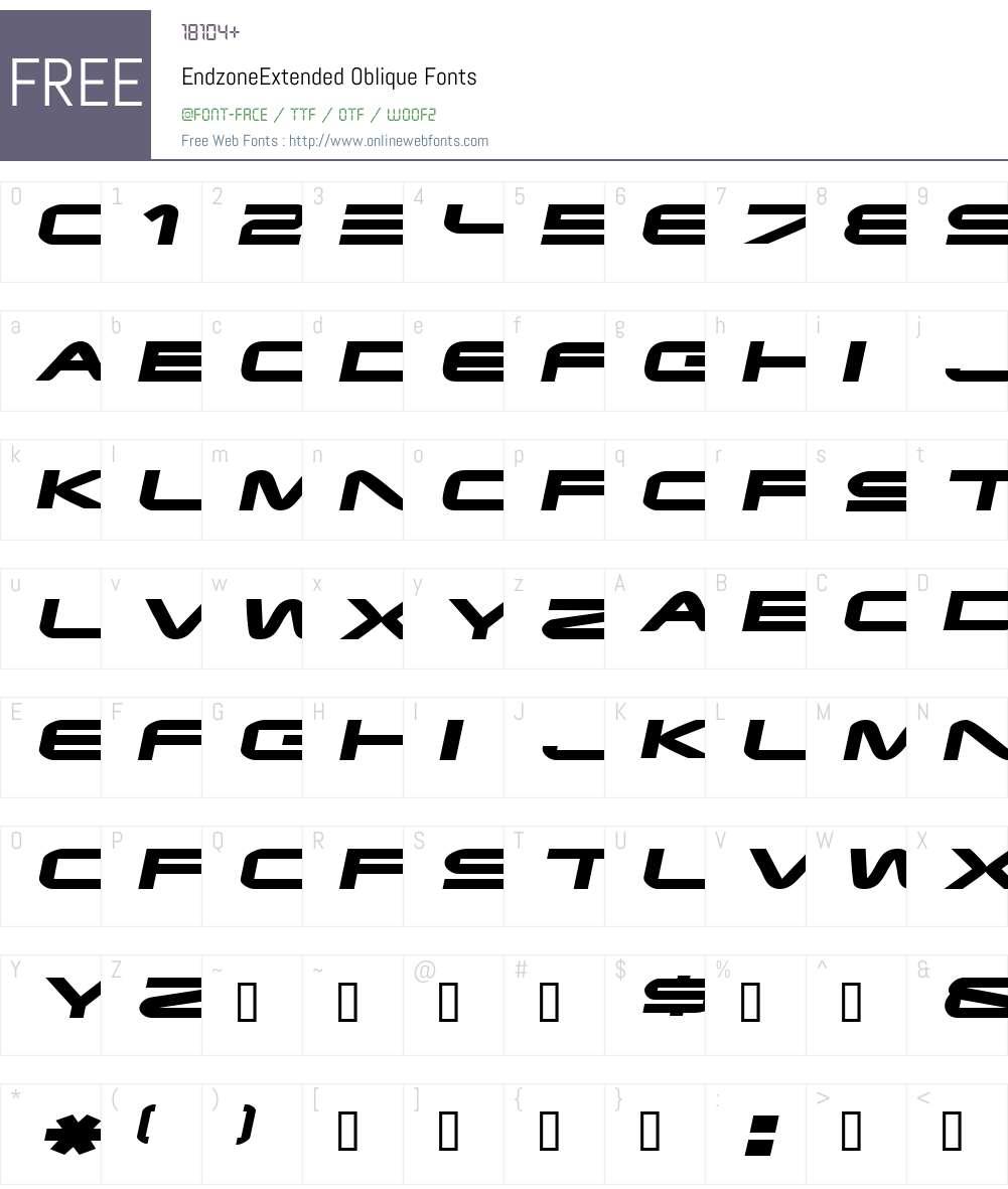 EndzoneExtended Font Screenshots
