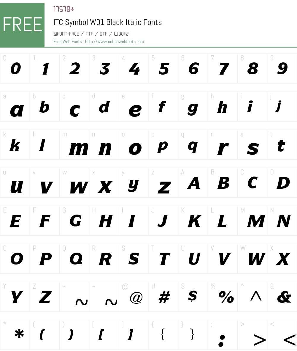 ITCSymbolW01-BlackItalic Font Screenshots