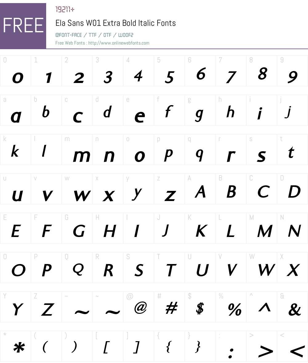 ElaSansW01-ExtraBoldItalic Font Screenshots