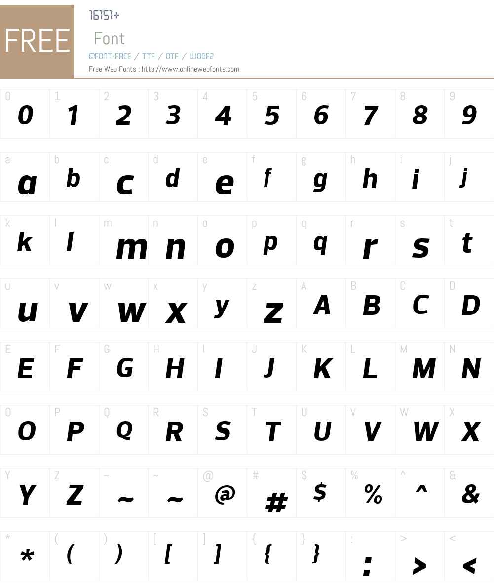 PreloW01-XBoldItalic Font Screenshots