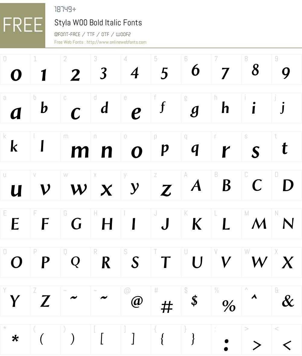 StylaW00-BoldItalic Font Screenshots