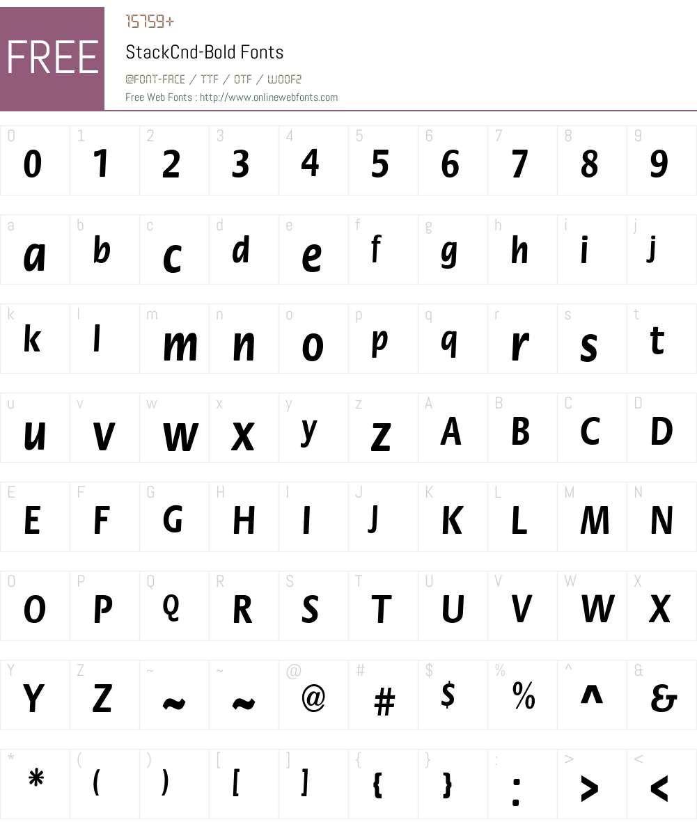 StackCnd-Bold Font Screenshots