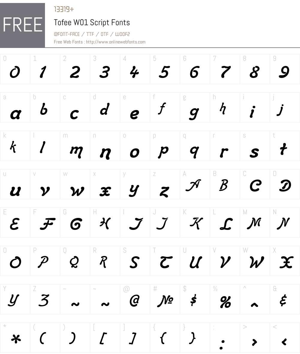 TofeeW01-Script Font Screenshots