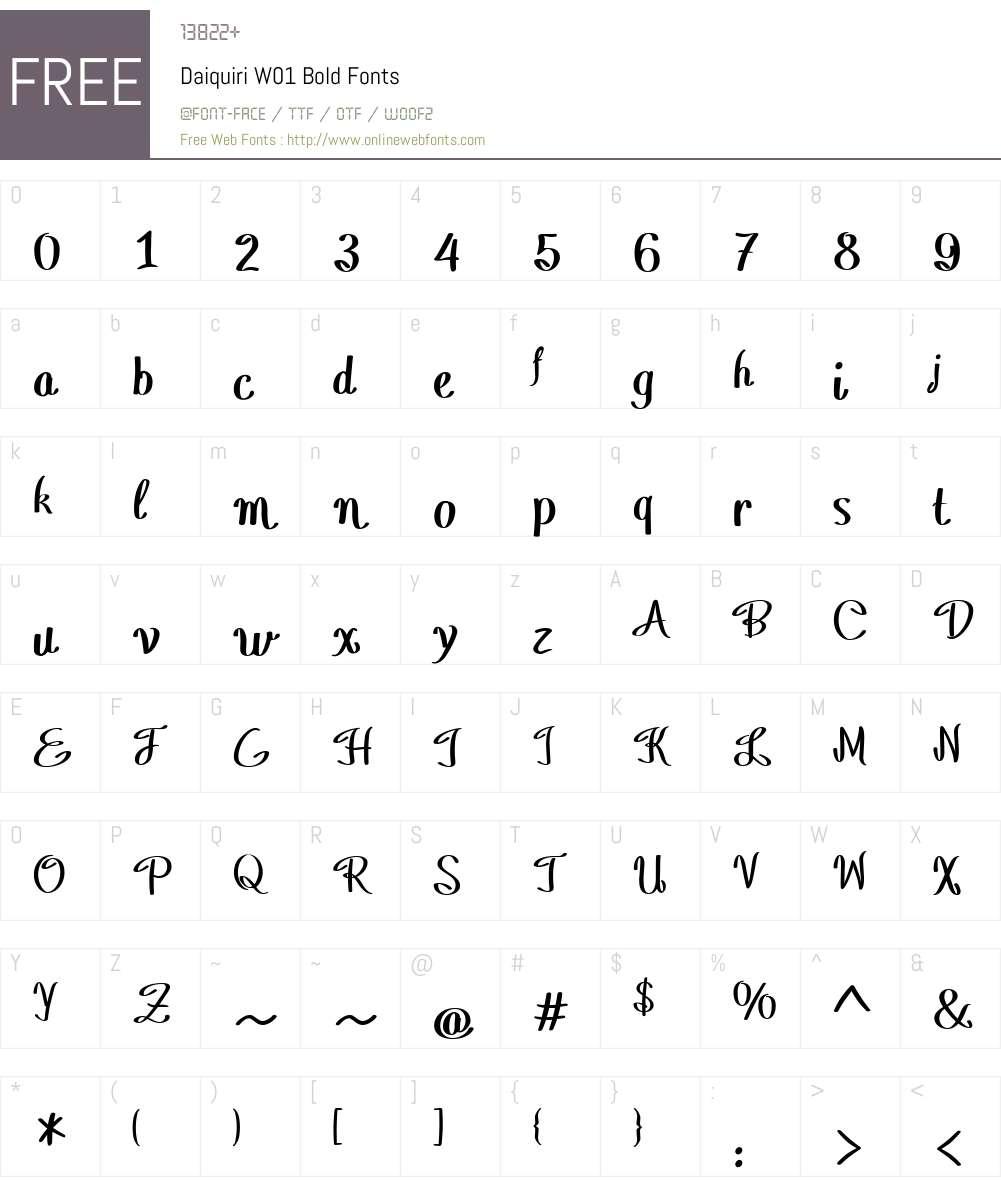 DaiquiriW01-Bold Font Screenshots