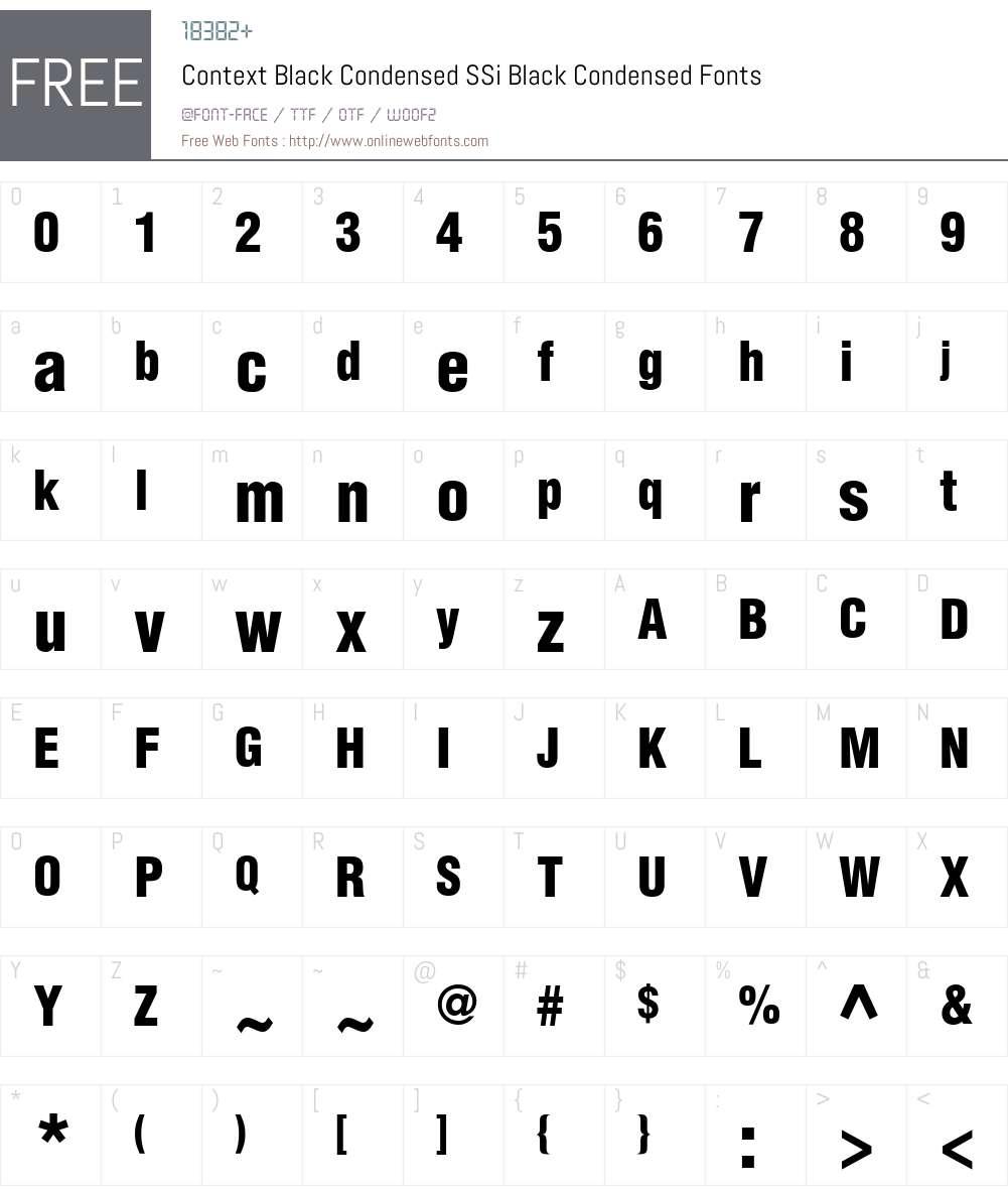 Context Black Condensed SSi Font Screenshots