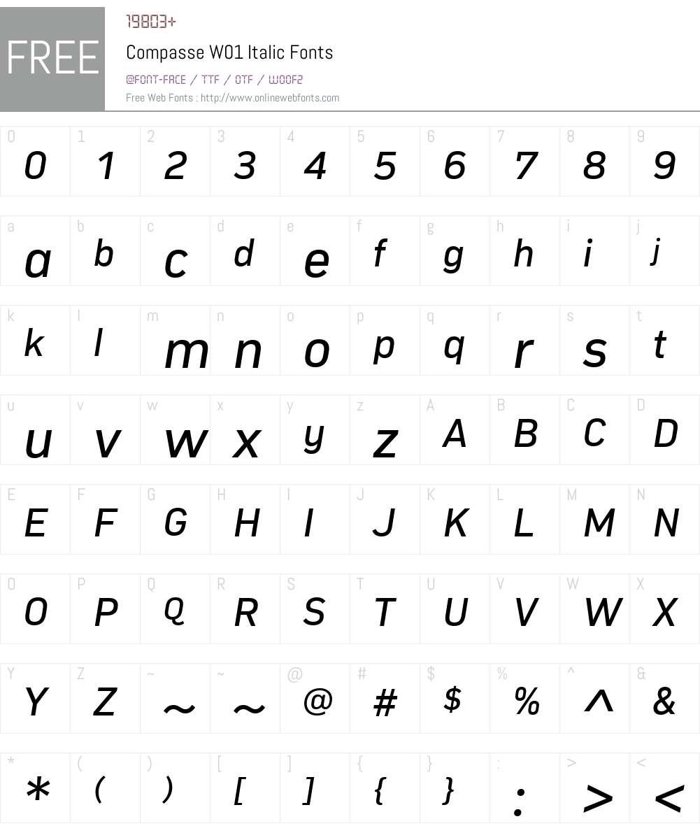CompasseW01-Italic Font Screenshots