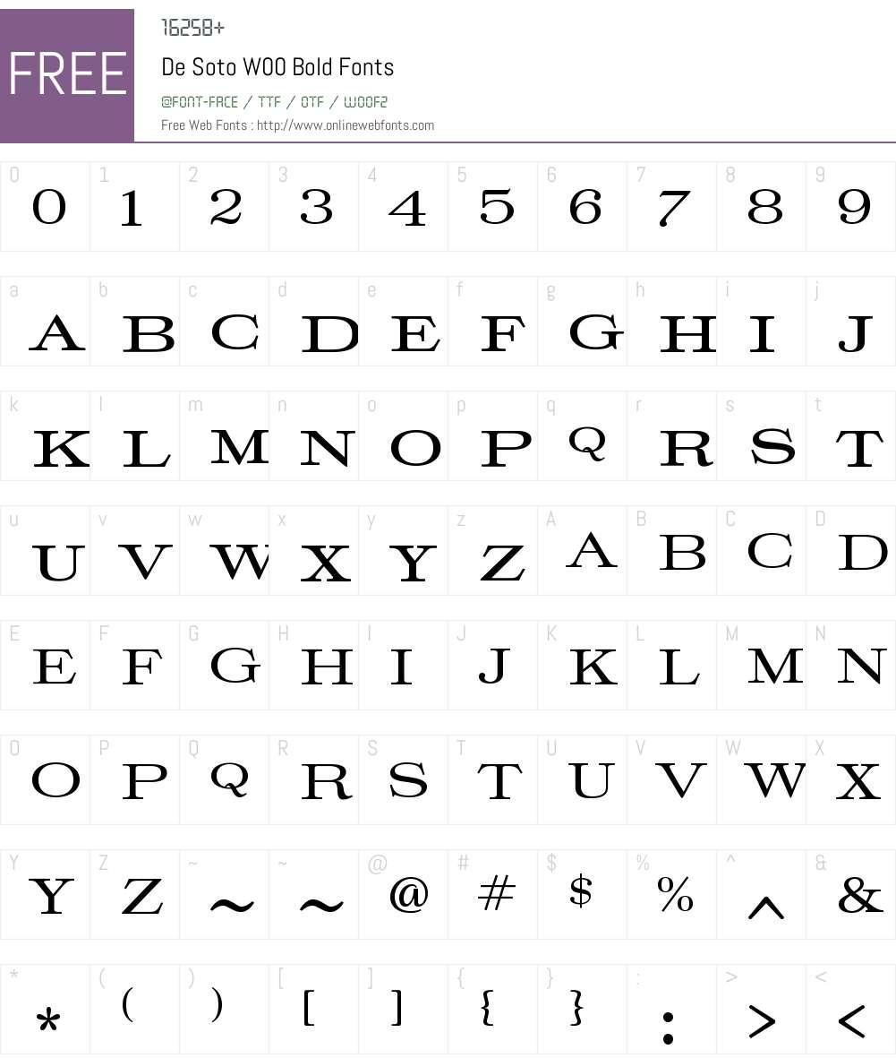 DeSotoW00-Bold Font Screenshots