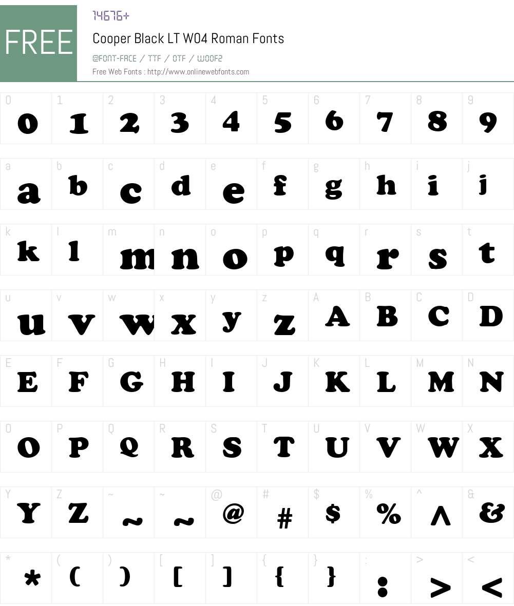 Cooper Black Font Screenshots