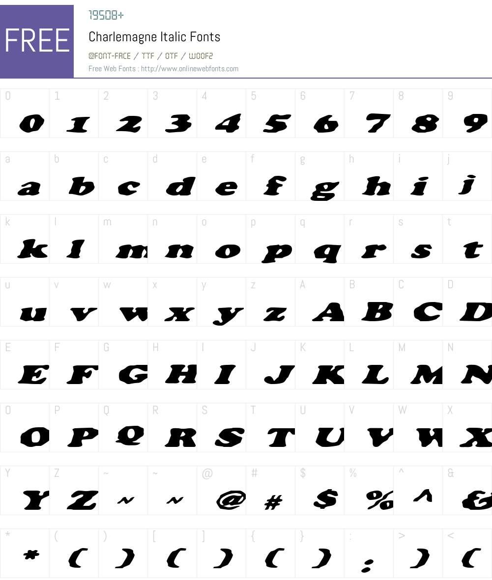 Charlemagne Italic Font Screenshots
