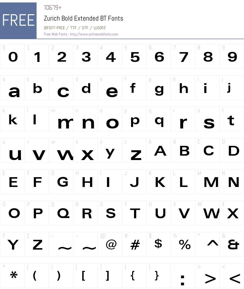 Zurich Font Screenshots