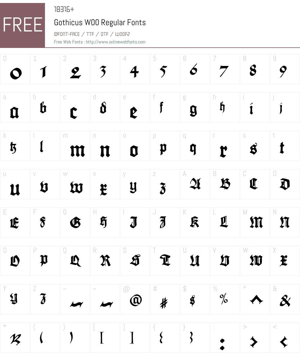 GothicusW00-Regular Font Screenshots