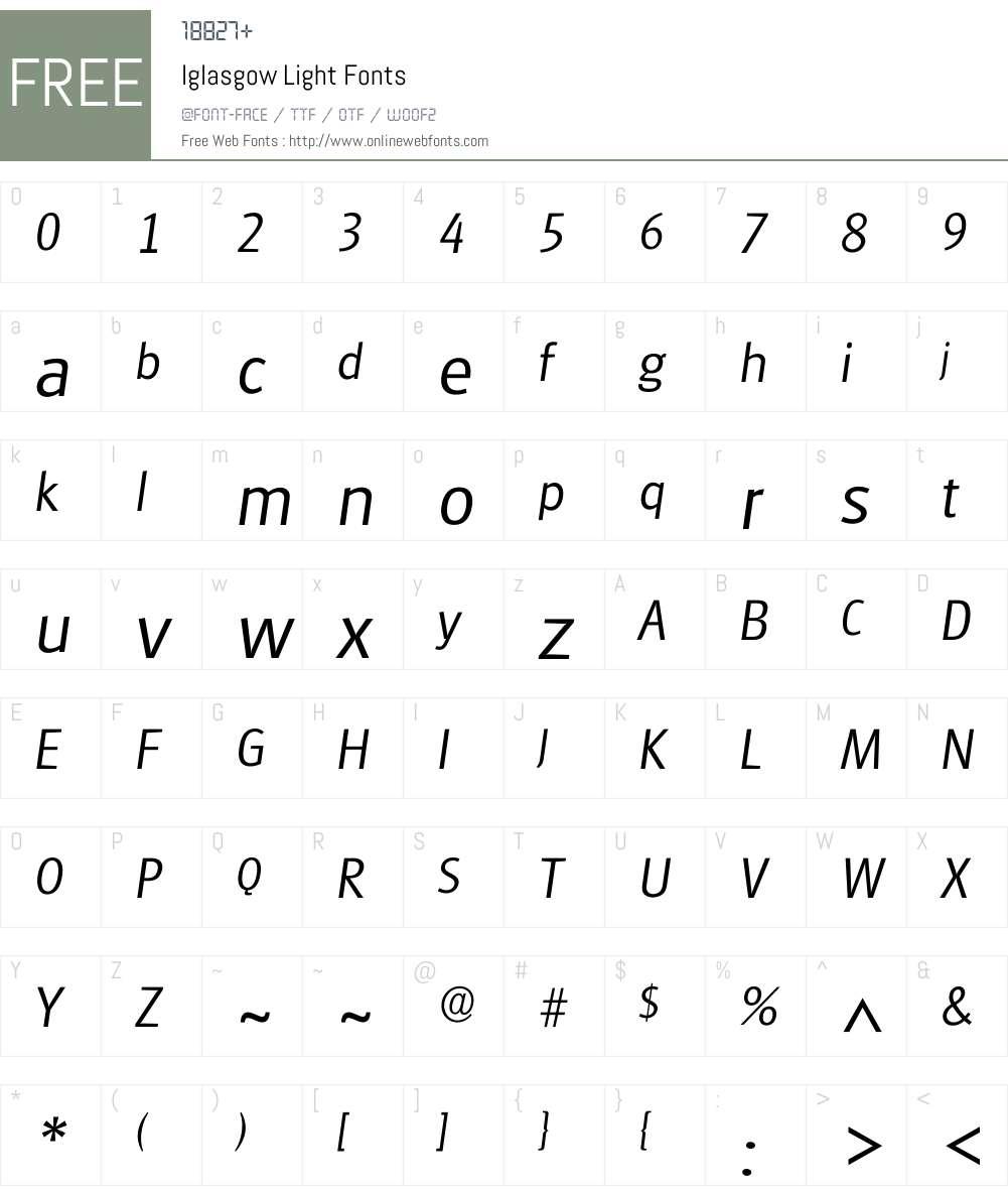 Iglasgow Font Screenshots