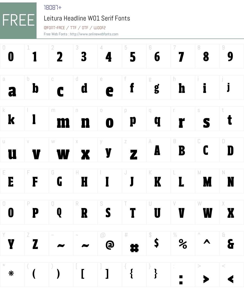 LeituraHeadlineW01-Serif Font Screenshots