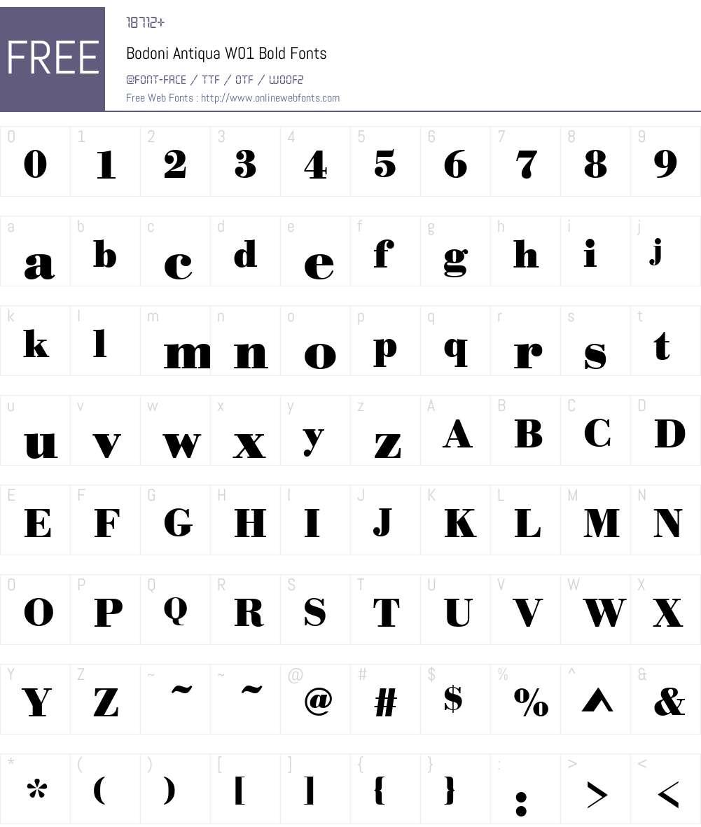 BodoniAntiquaW01-Bold Font Screenshots