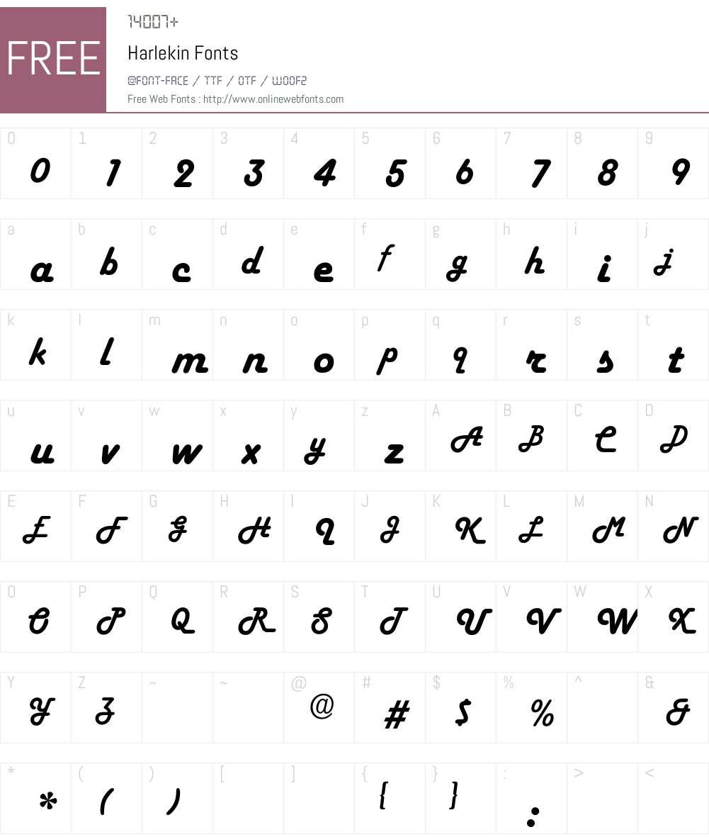 Harlekin Font Screenshots
