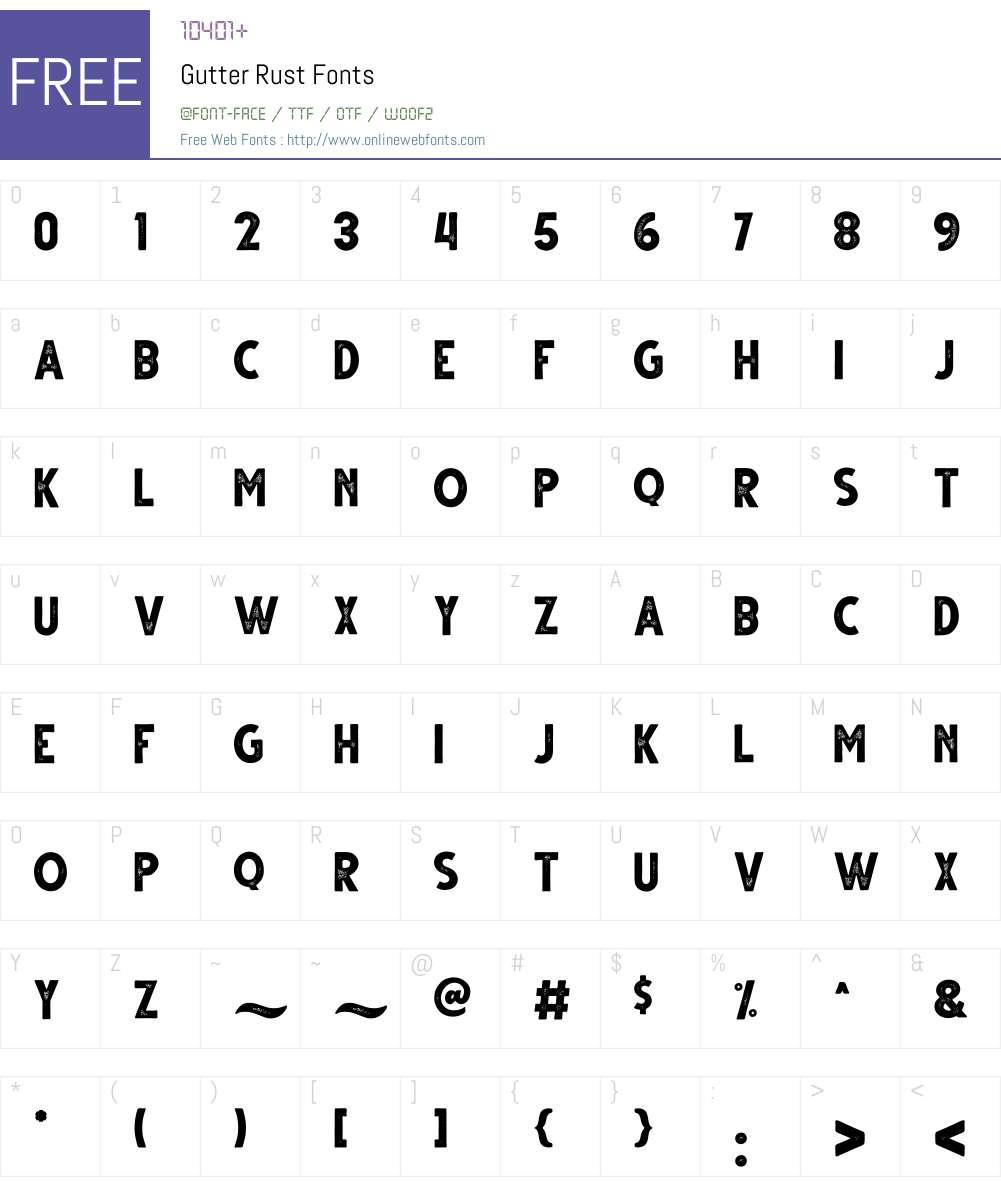 Gutter Rust Font Screenshots