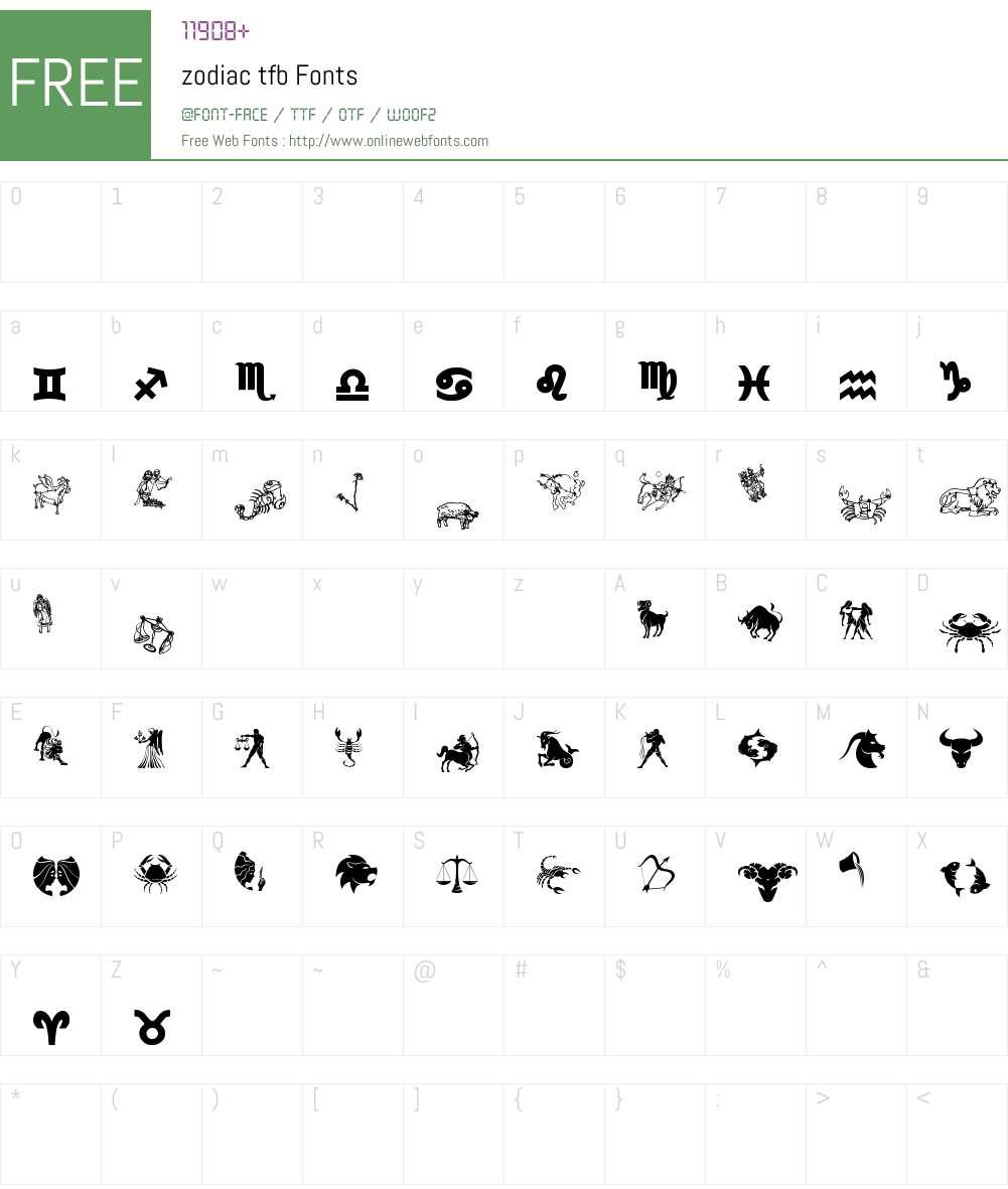 zodiac tfb Font Screenshots
