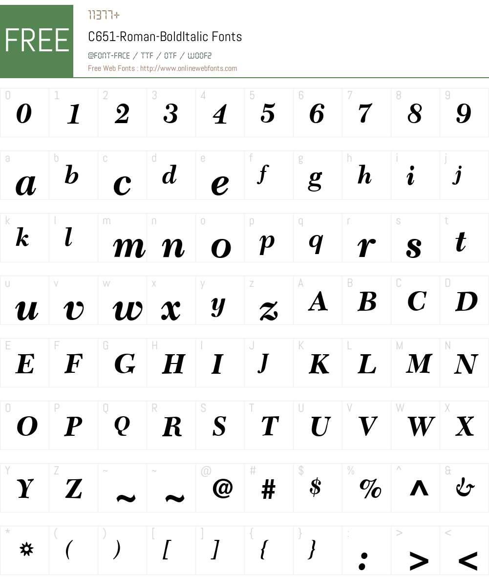C651-Roman Font Screenshots