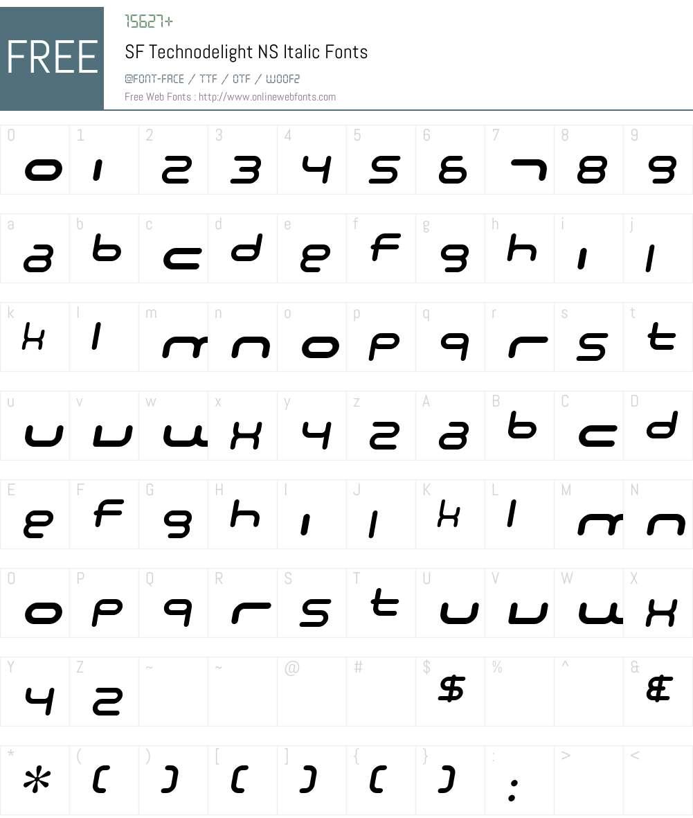 SF Technodelight NS Font Screenshots