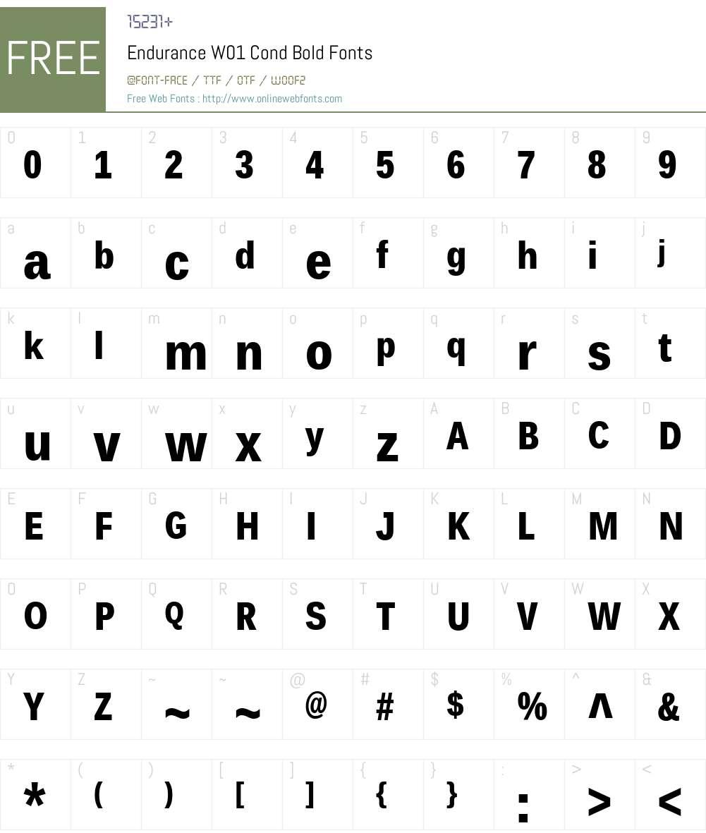 EnduranceW01-CondBold Font Screenshots