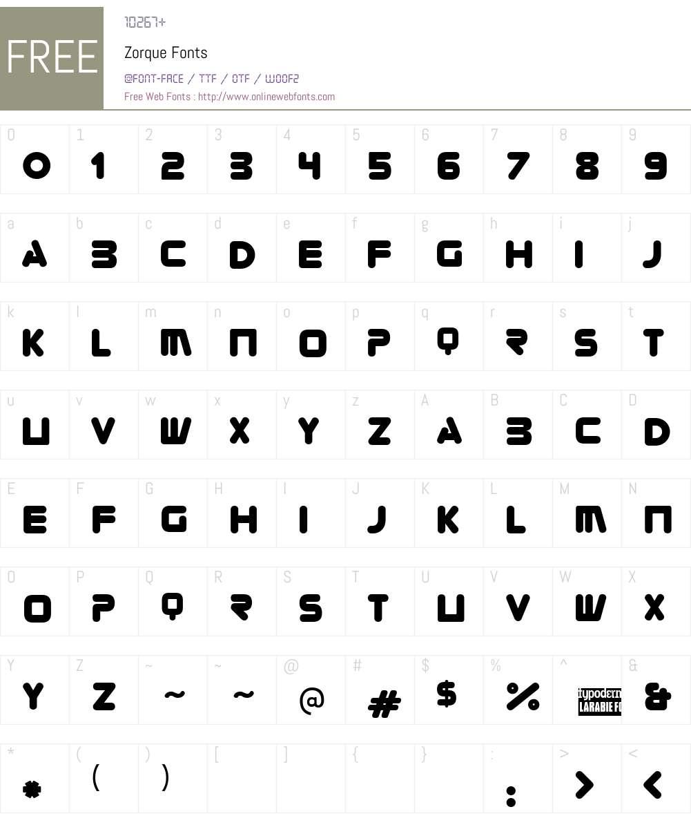 Zorque Font Screenshots