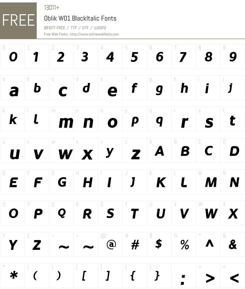 OblikW01-BlackItalic Font Screenshots