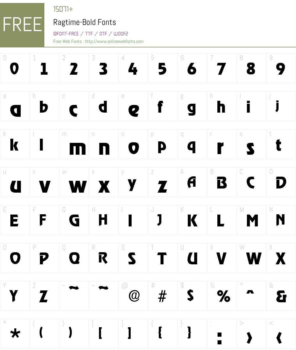 Ragtime-Bold Font Screenshots